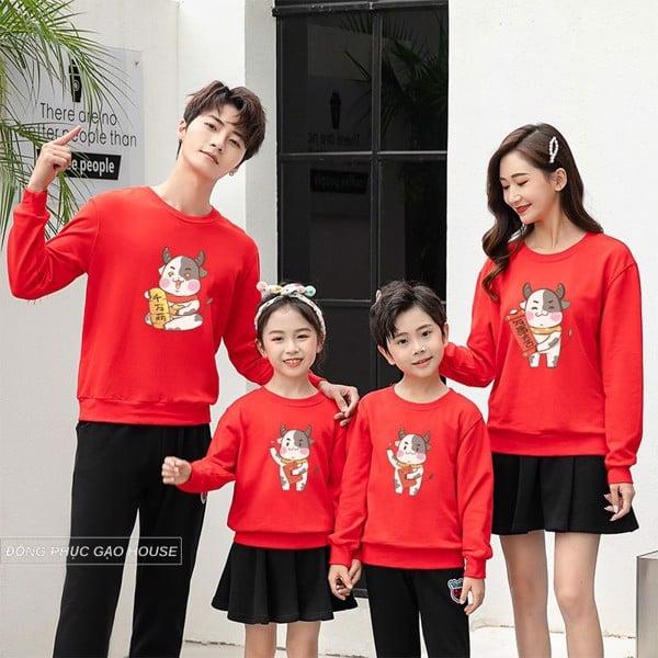 áo gia đình tết 4 người màu đỏ
