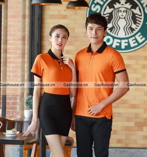 áo đồng phục nhà hàng - khách sạn màu cam