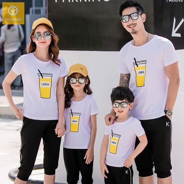 Bộ quần áo gia đình mùa hè tone màu đen - trắng