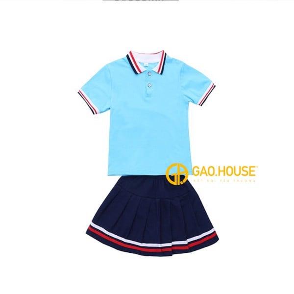 Đồng phục học sinh tiểu học màu xanh dương váy nữ
