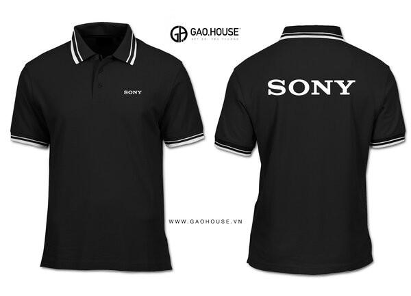 Đồng phục công ty màu đen phối cổ lé trắng