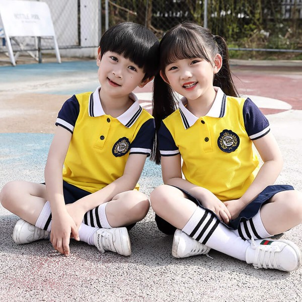 Đồng phục học sinh tiểu học in logo bên ngực trái