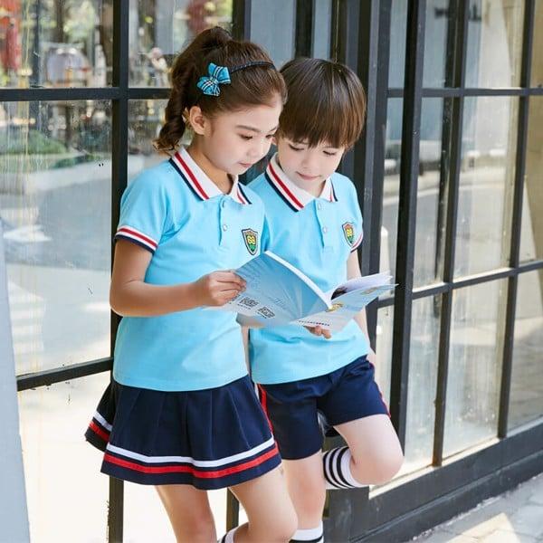 Đồng phục học sinh tiểu học màu xanh dương