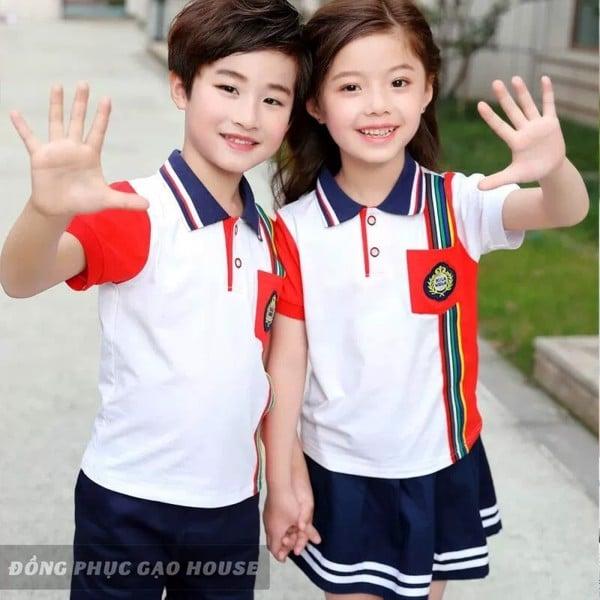 đồng phục mầm non phối màu đỏ trắng