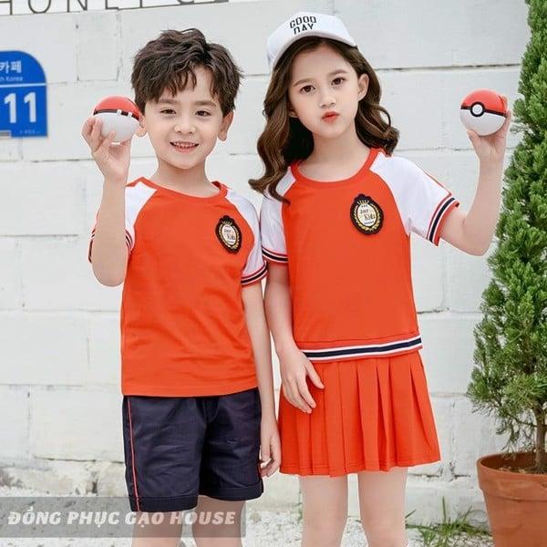 đồng phục mầm non màu cam - trắng cổ tròn