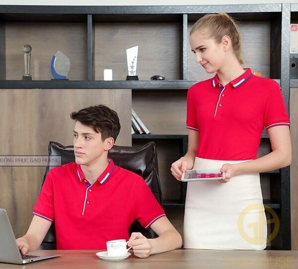 Đồng phục nhân viên văn phòng màu đỏ