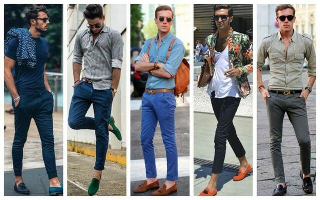 Giày lười kết hợp cùng quần vải