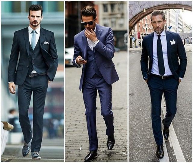 Mặc quần vải kết hợp giày tây âu