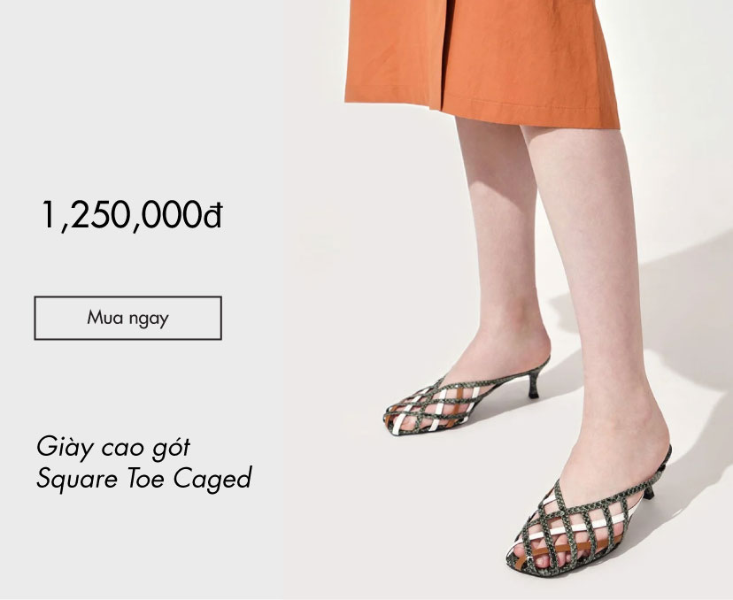 CHARLES & KEITH - Giày cao gót Square Toe Caged