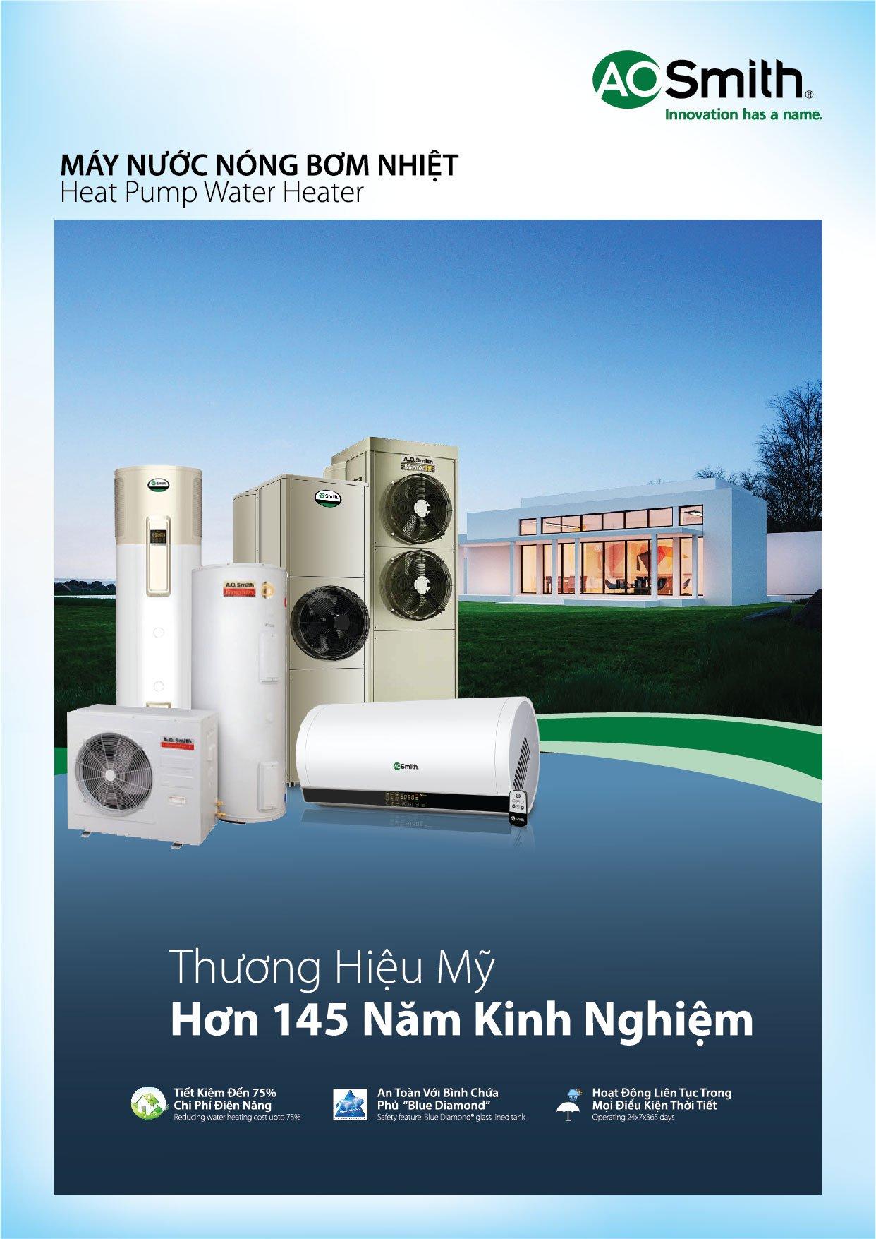 Máy nước nóng bơm nhiệt tích hợp AO Smith CAHP-3HP 455L 12KW điện trở