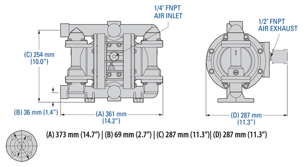 Bơm Màng WILDEN P220 P230 Pro-Flo Bolted Metal Dimension
