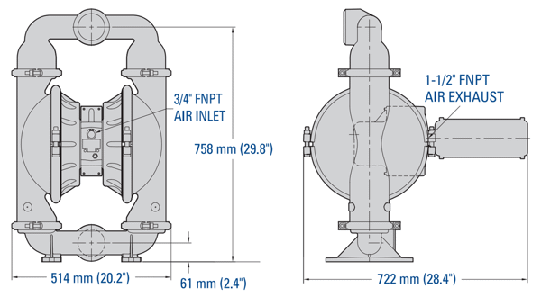 Bơm Màng WILDEN PS15 Pro-Flo SHIFT Clamped Metal Dimension