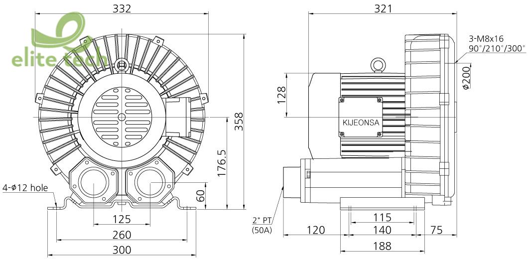 Máy Thổi Khí KIJEONSA KJB1-2200S