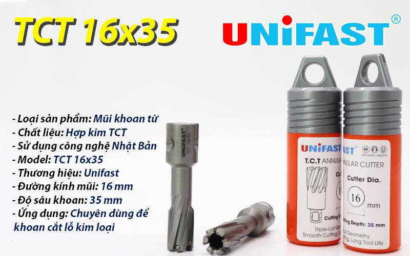 Mũi khoan từ siêu bền TCT 16x35 hiệu Unifast
