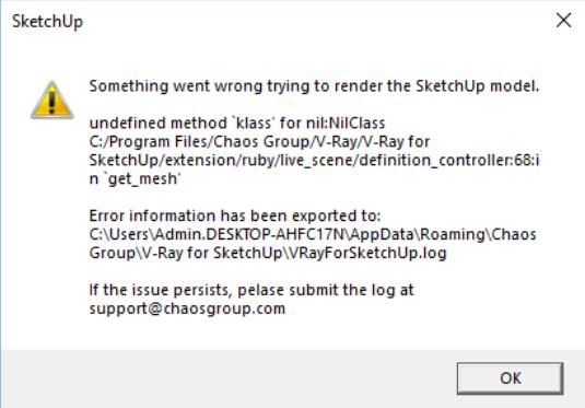 Tổng hợp lỗi V-RAY SKETCHUP (các lỗi thường gặp khi dùng