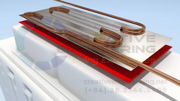 Gắn giàn bay hơi tủ lạnh bằng băng keo tesa - Creative Engineering