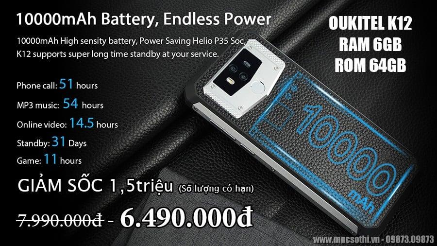 Mục sở thị Oukitel K12 smartphone pin khủng giảm cỡ này không mua thì phí - 09873.09873