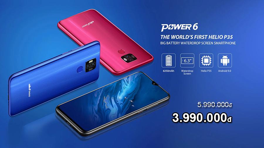 Ulefone Power 6 smartphone pin khủng 6350mAh ưu đãi giá đến 2 triệu - 09873.09873