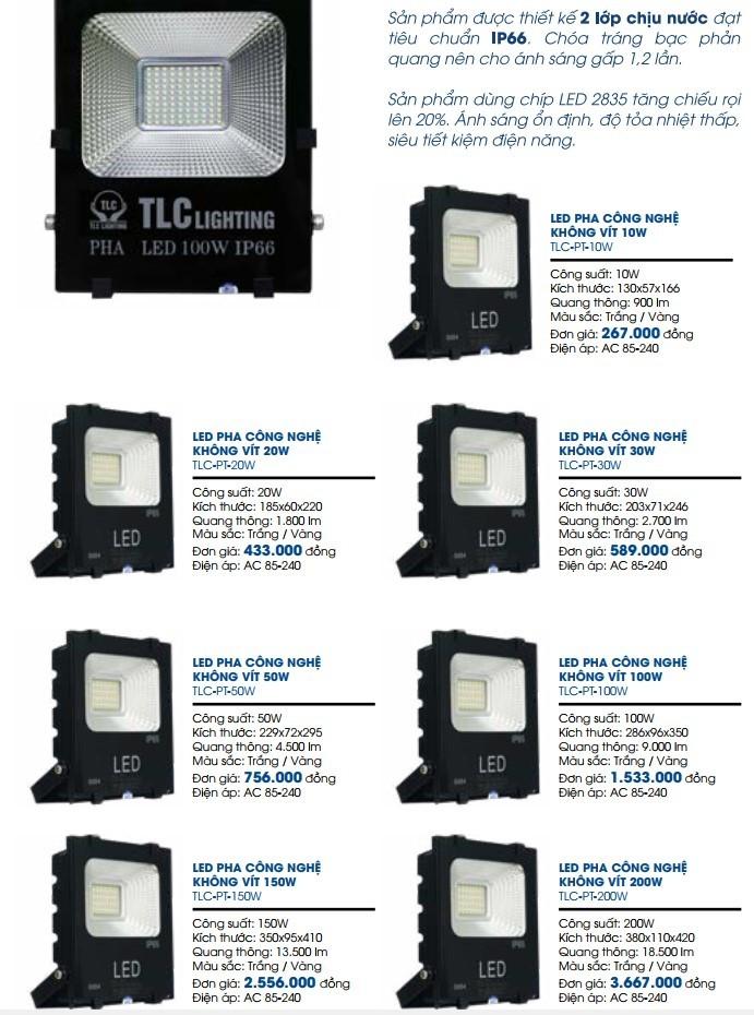 Bảng giá đèn LED pha công nghệ không vít chịu nước 2 lớp chịu nước
