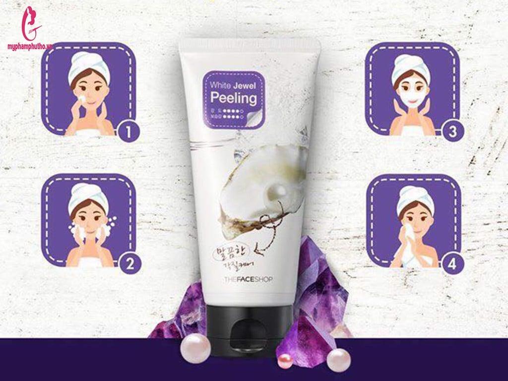 cách dùng Tẩy tế bào da chết ngọc trai TheFaceShop White Jewel Peeling Hàn Quốc