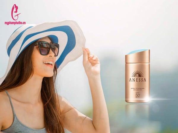 công dụng Kem chống nắng Anessa perfect uv sunscreen skincare milk Nhật Bản