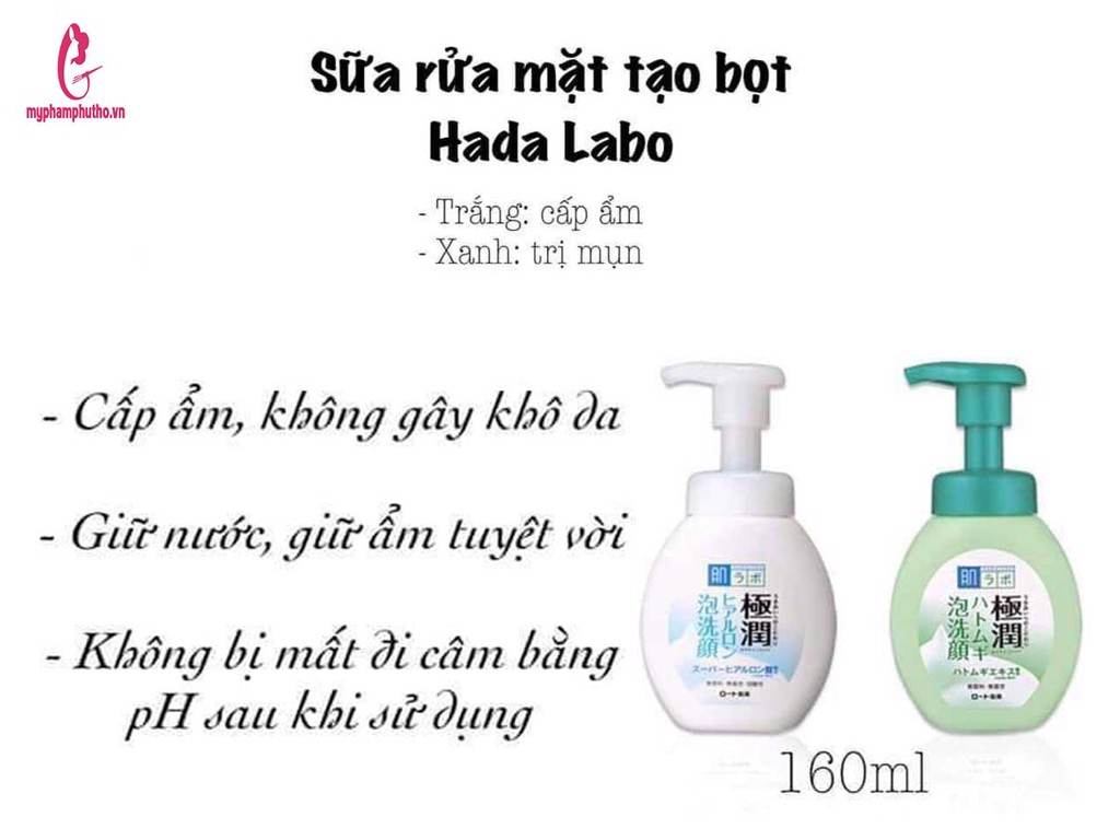 công dụng Sữa rửa mặt bọt Hada Labo Gokujyun Nhật Bản
