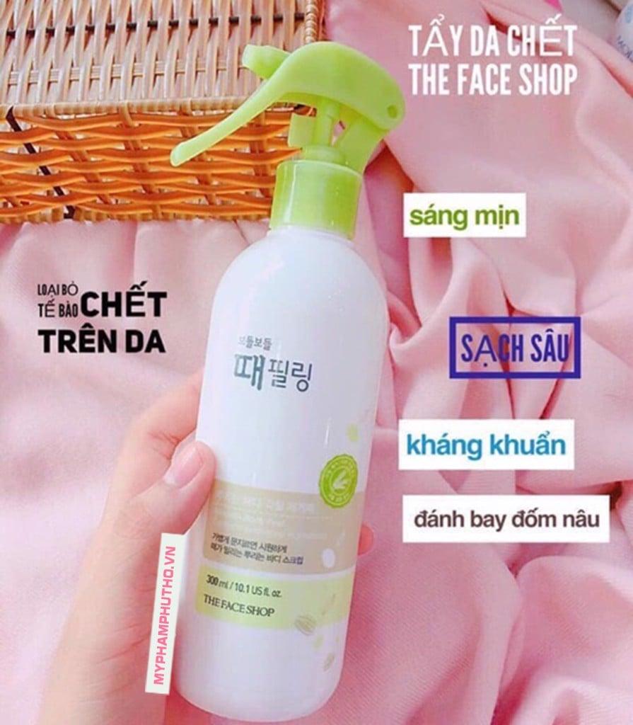 công dụng Tẩy da chết Body toàn thân dạng xịt The Face Shop