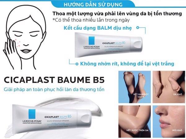 Cách sử dụng kem dưỡng ẩm La Roche-Posay Cicaplast Baume B5