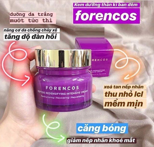 công dụng Kem Dưỡng Forencos Peptide Redensifying Intensive Cream ( Màu tím)