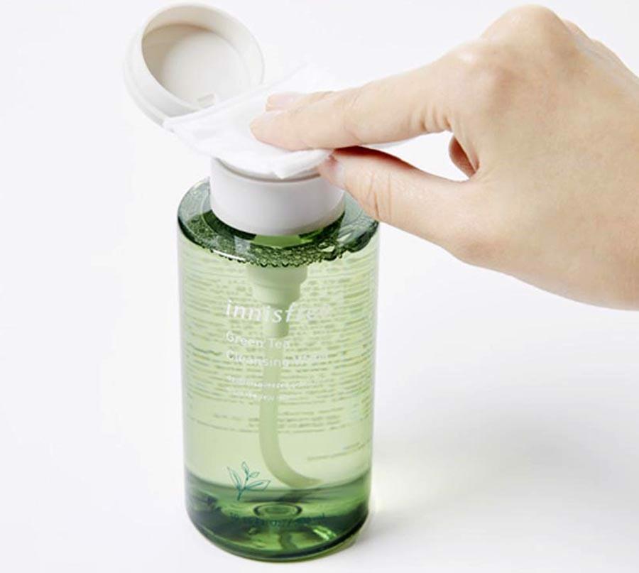 cách sử dụng Nước Tẩy Trang Innisfree Green Tea Cleansing Water