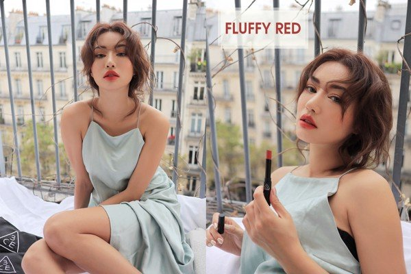 Lên môi Son Thỏi 3CE Stylenanda Slim Velvet Lip Color màu FLUFFY red