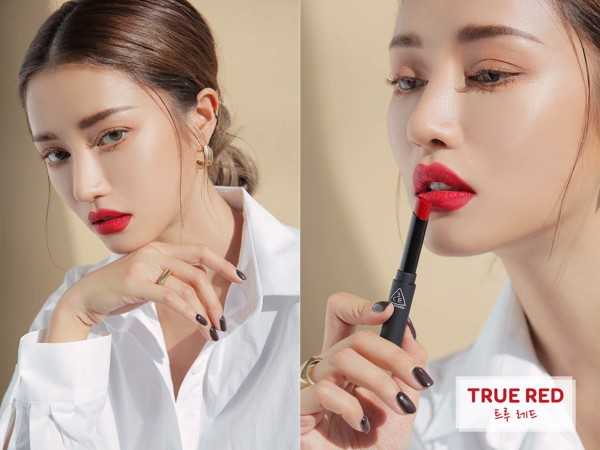 Lên môi Son Thỏi 3CE Stylenanda Slim Velvet Lip Color màu true red