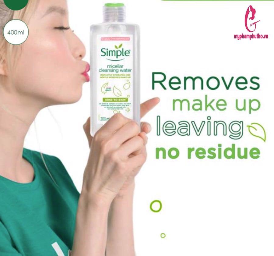 công dụng Nước Tẩy Trang Simple Micellar Cleansing Water