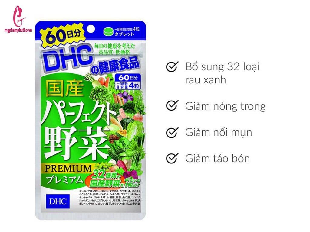 công dụng Viên Uống Bổ Sung 32 Loại Rau Củ DHC Premium Nhật Bản 60 Ngày