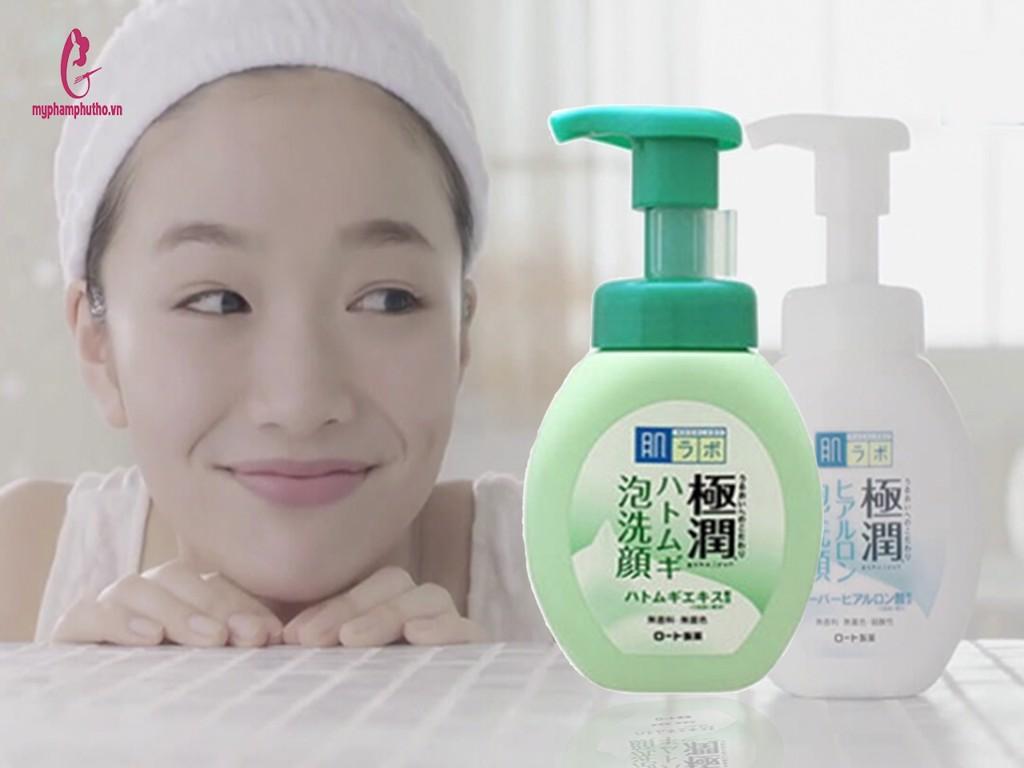 review Sữa rửa mặt bọt Hada Labo Gokujyun Nhật Bản