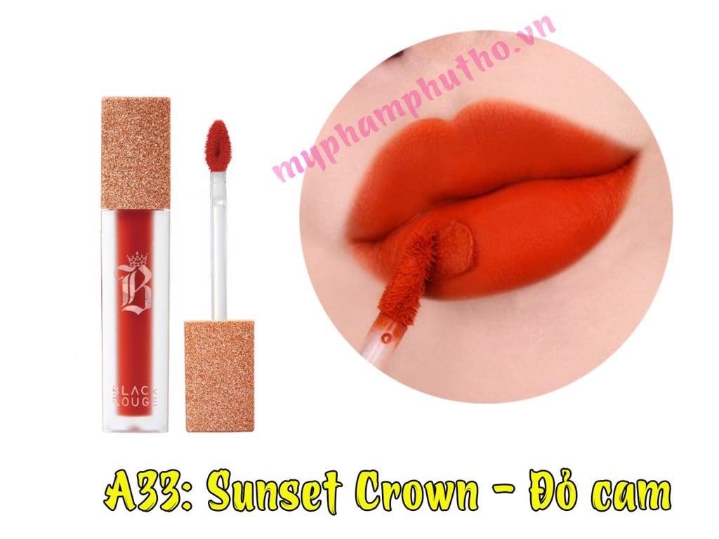 Son Black màu A33: Sunset Crown - Đỏ cam