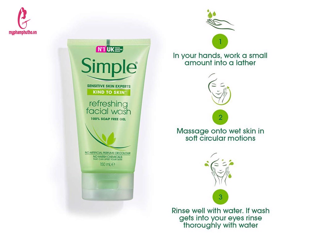 cách sử dụng Sữa rửa mặt dạng gel Simple Kind To Skin Refreshing Facial Wash Gel