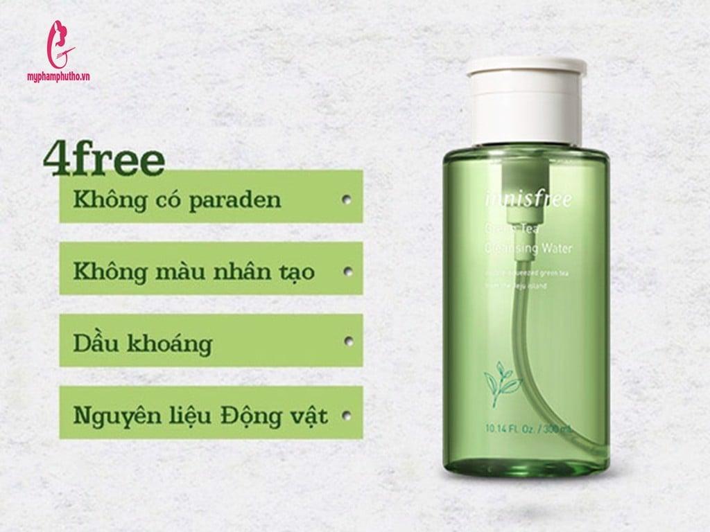 thành phần Nước Tẩy Trang Innisfree Green Tea Cleansing Water
