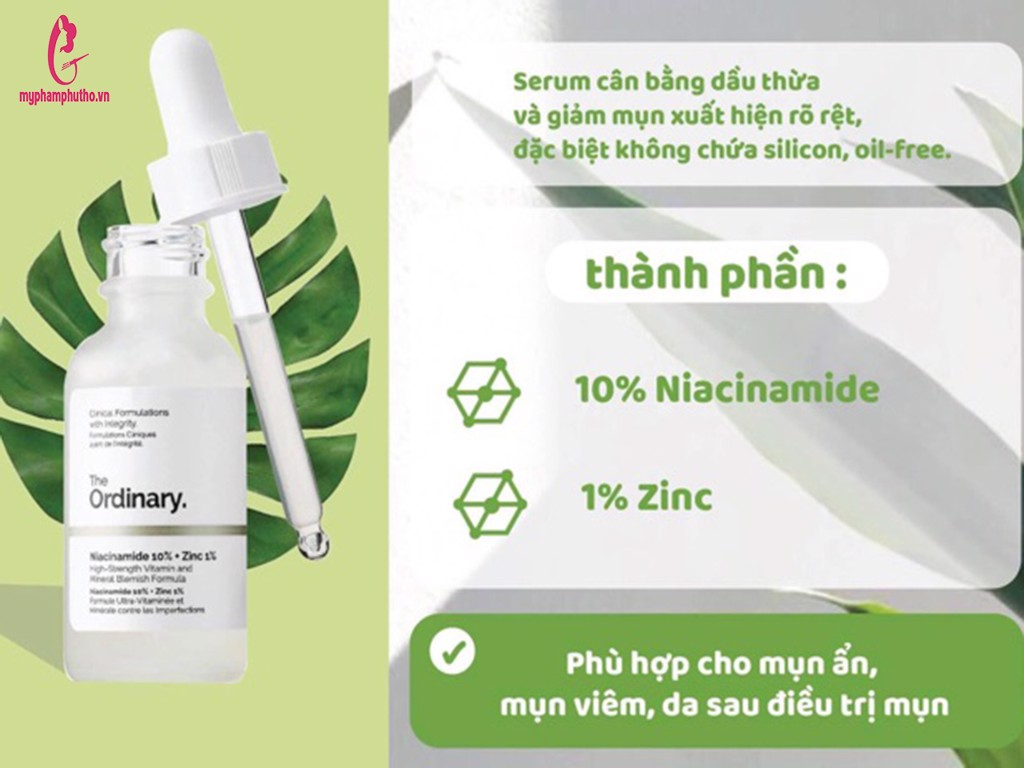 thành phần Tinh chất The Ordinary Niacinamide 10% + ZinC 1%