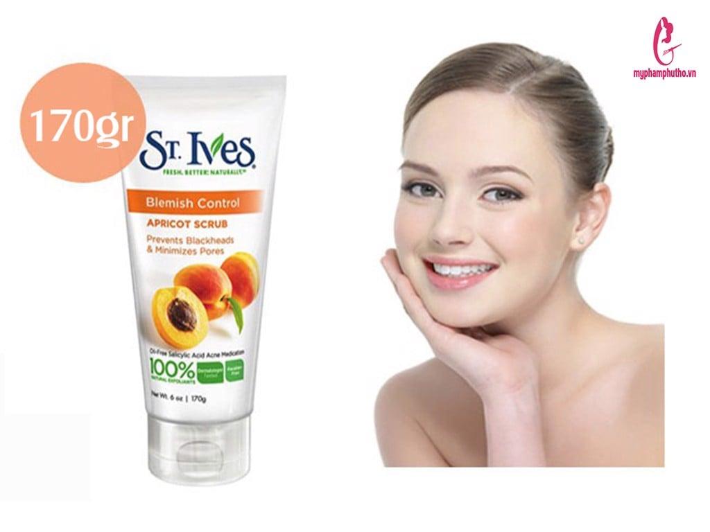review Sữa rửa mặt tẩy tế bào chết St.Ives Blemish Control Apricot Scrub