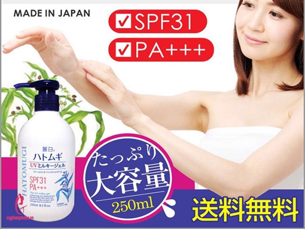 review Sữa dưỡng thể Body chống nắng Hatomugi UV Milky Gel Naturie Nhật Bản