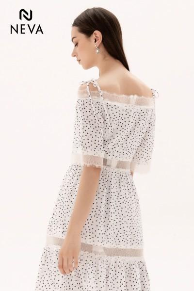 Váy đầm trể vai chấm bi