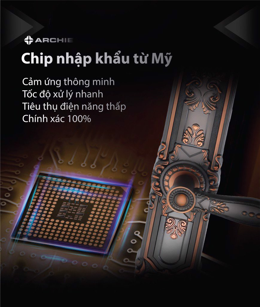Khóa vân tay cho cửa sắt  có chip vân tay được nhập khẩu từ Mỹ