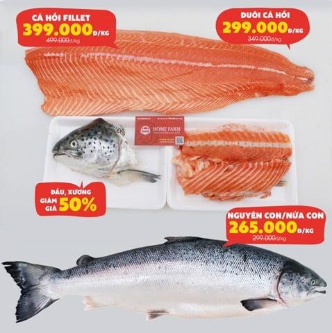 Khuyến mãi cá hồi tươi Nauy tại Homefarm từ 31/10 - 11/11