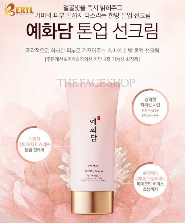 Kem Chống Nắng Thefaceshop Yehwadam Tone Up Sun Cream SPF50+ PA+++