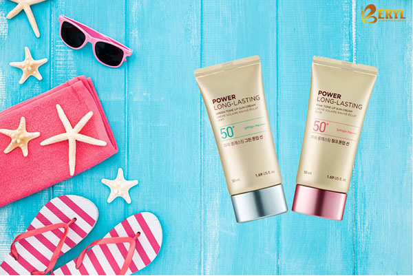 Kem chống nắng The Face Shop Power Long Lasting Pink Tone Up Sun Cream.