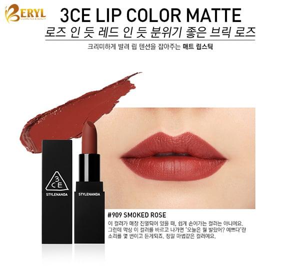 Son 3CE 909 Smoke Rose Vỏ Đen Lipcolor Matte Màu Đỏ Đất