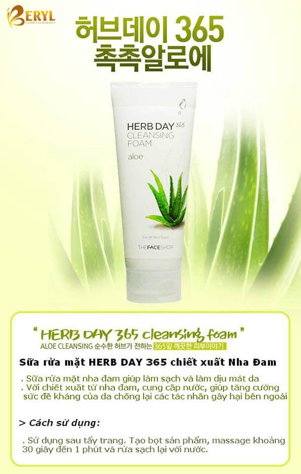 Sữa Rửa Mặt Nha Đam Herb Day 365 Cleansing Foam Aloe 170ml
