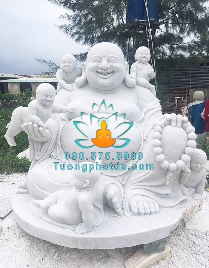 Tượng Phật Di Lặc Lục Tặc Đá Trắng Nguyên Khối