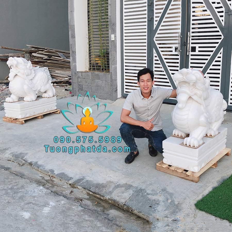 Tỳ hưu bằng đá cẩm thạch trắng tự nhiên